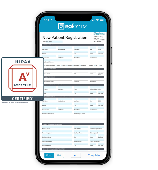 Patient registration form on phone with overlay of HIPAA certification badge