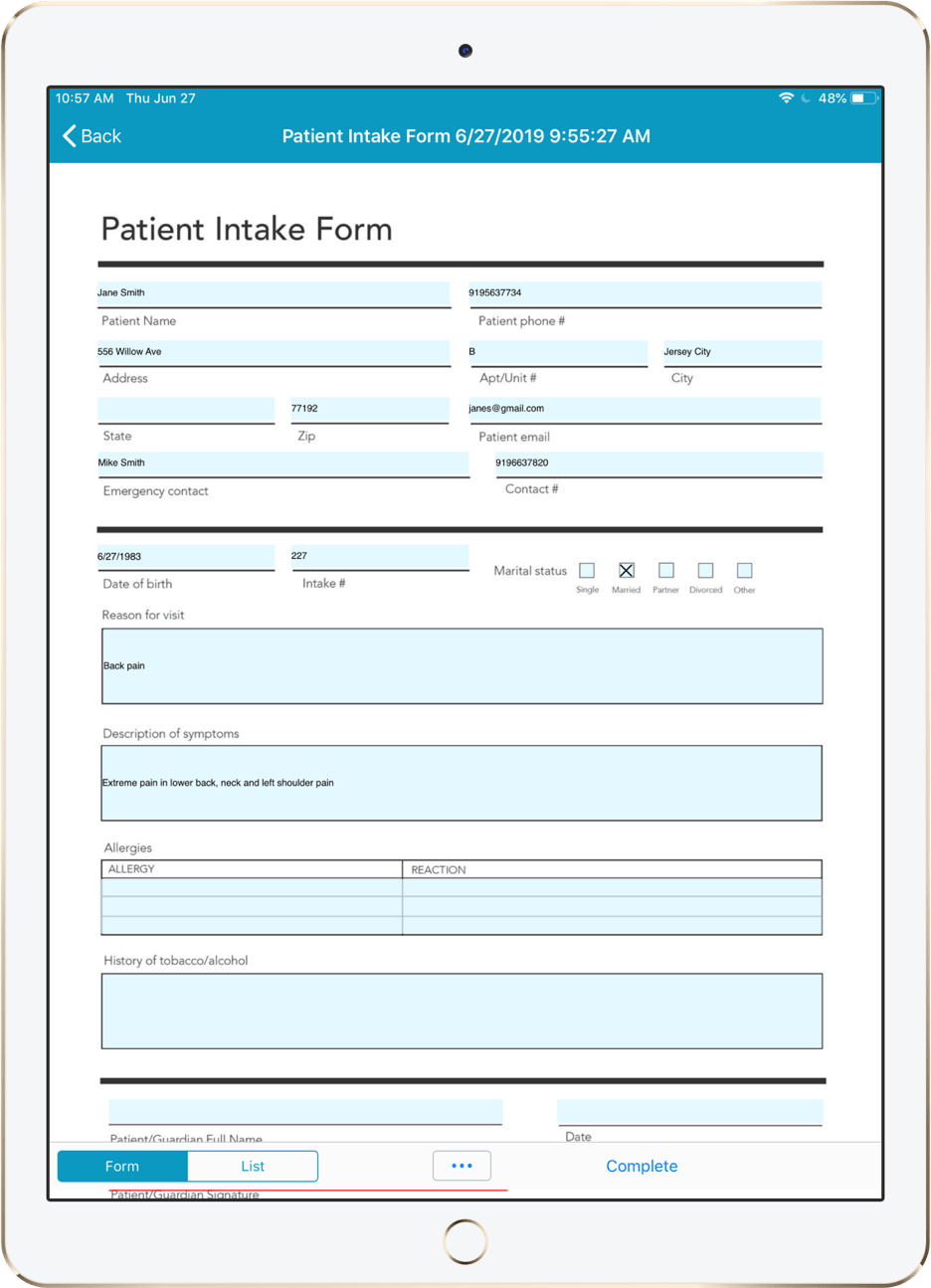 A digital patient intake form shown on a tablet.