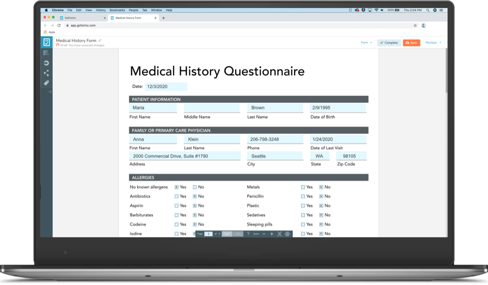 A medical history form being filled out on a laptop