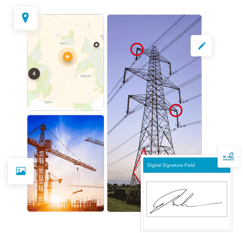 Easily include sketches, photos and GPS data in your digital work orders