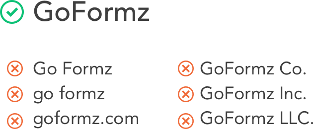 GoFormz brand name being used correctly and incorrectly