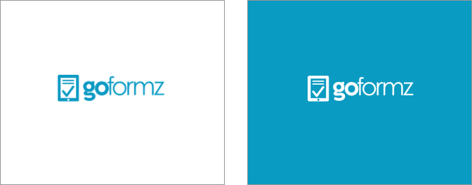 GoFormz logos on white and blue backgrounds