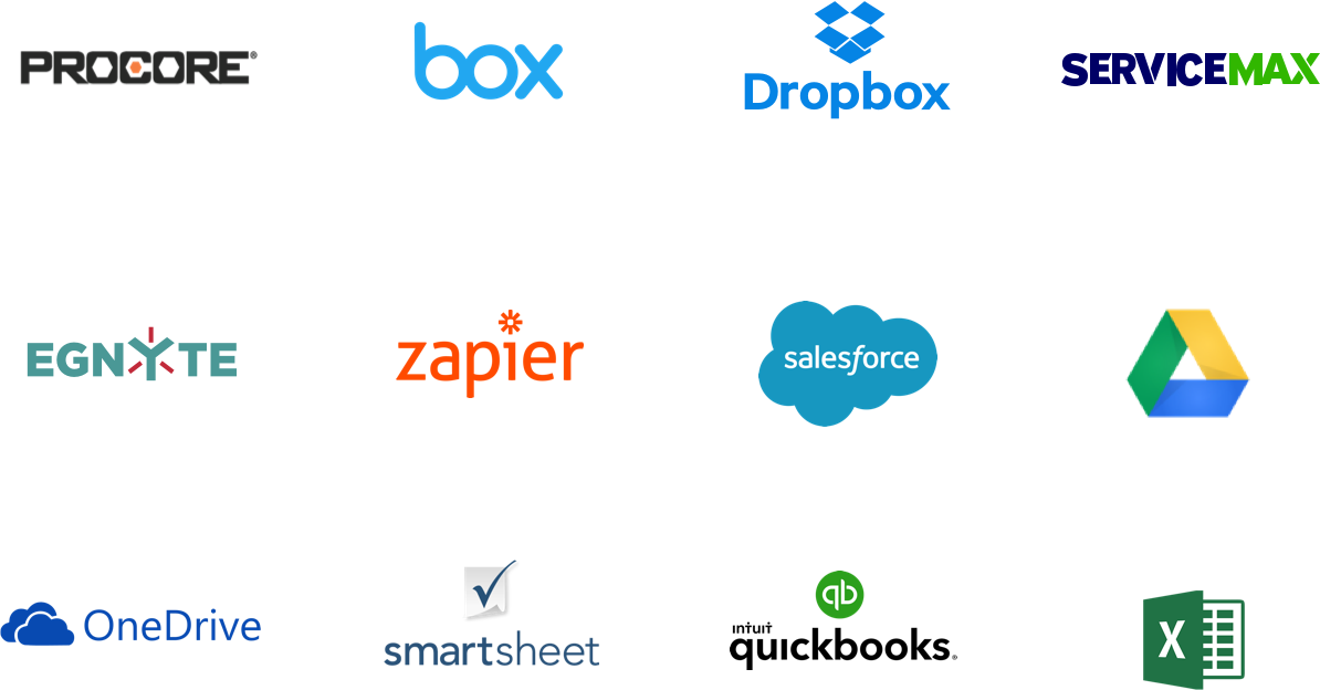 GoFormz mobile form integration logos, including Procore, Box, Dropbox, ServiceMax, Egnyte, Zapier, Salesforce, Google Drive, OneDrive, Smartsheet, Quickbooks, and Excel