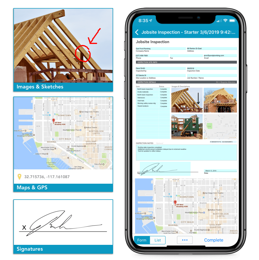Fillable form on iPhone next to an image field, a map field, and an electronic signature