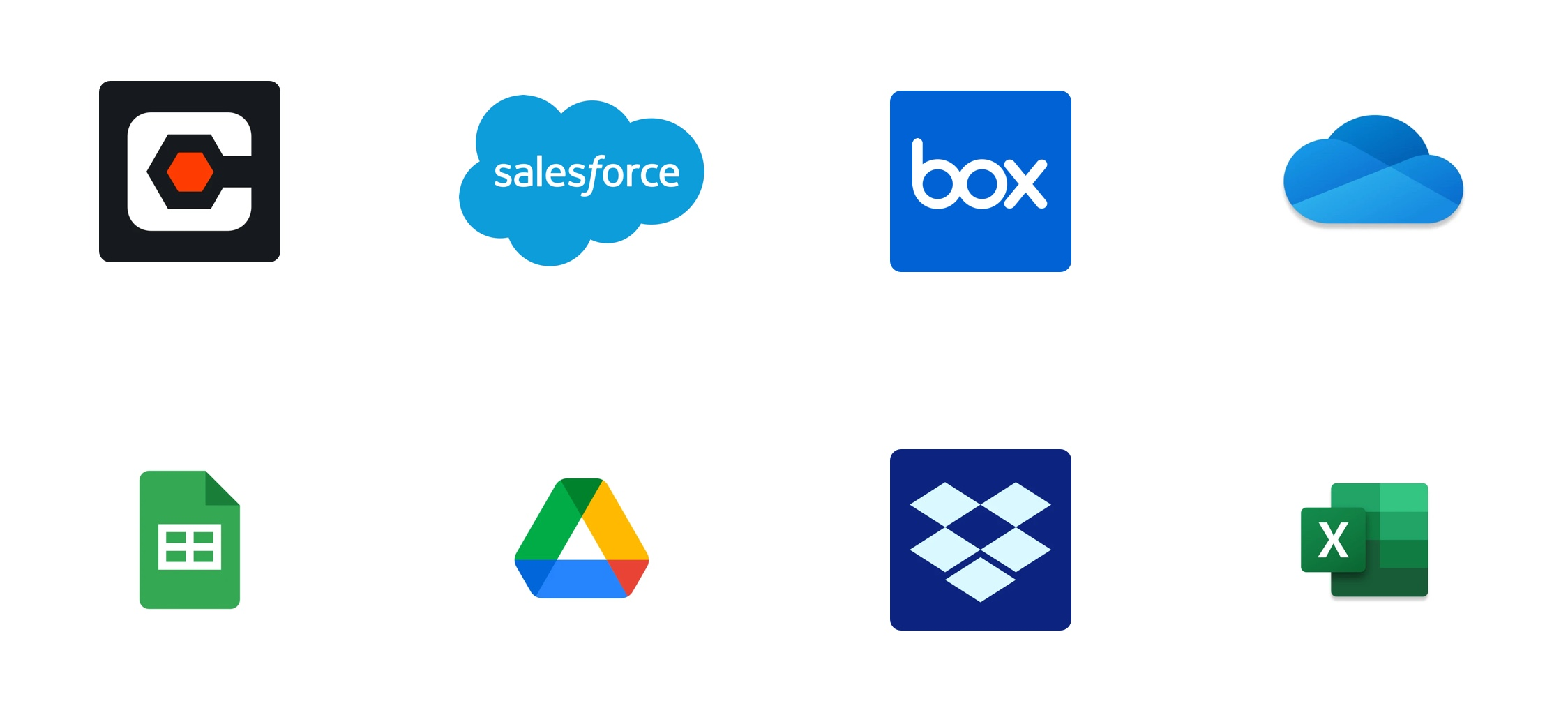 A grid of logos showing the different business systems GoFormz integrates with.