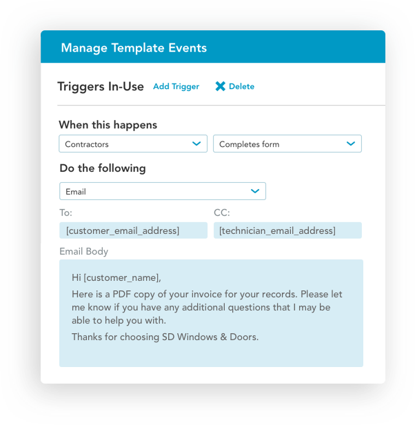 Automated workflow and managed events with mobile forms