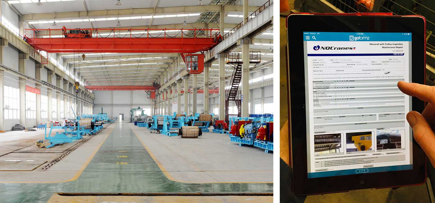 NQ cranes uses GoFormz mobile forms in their bridge cranes operations