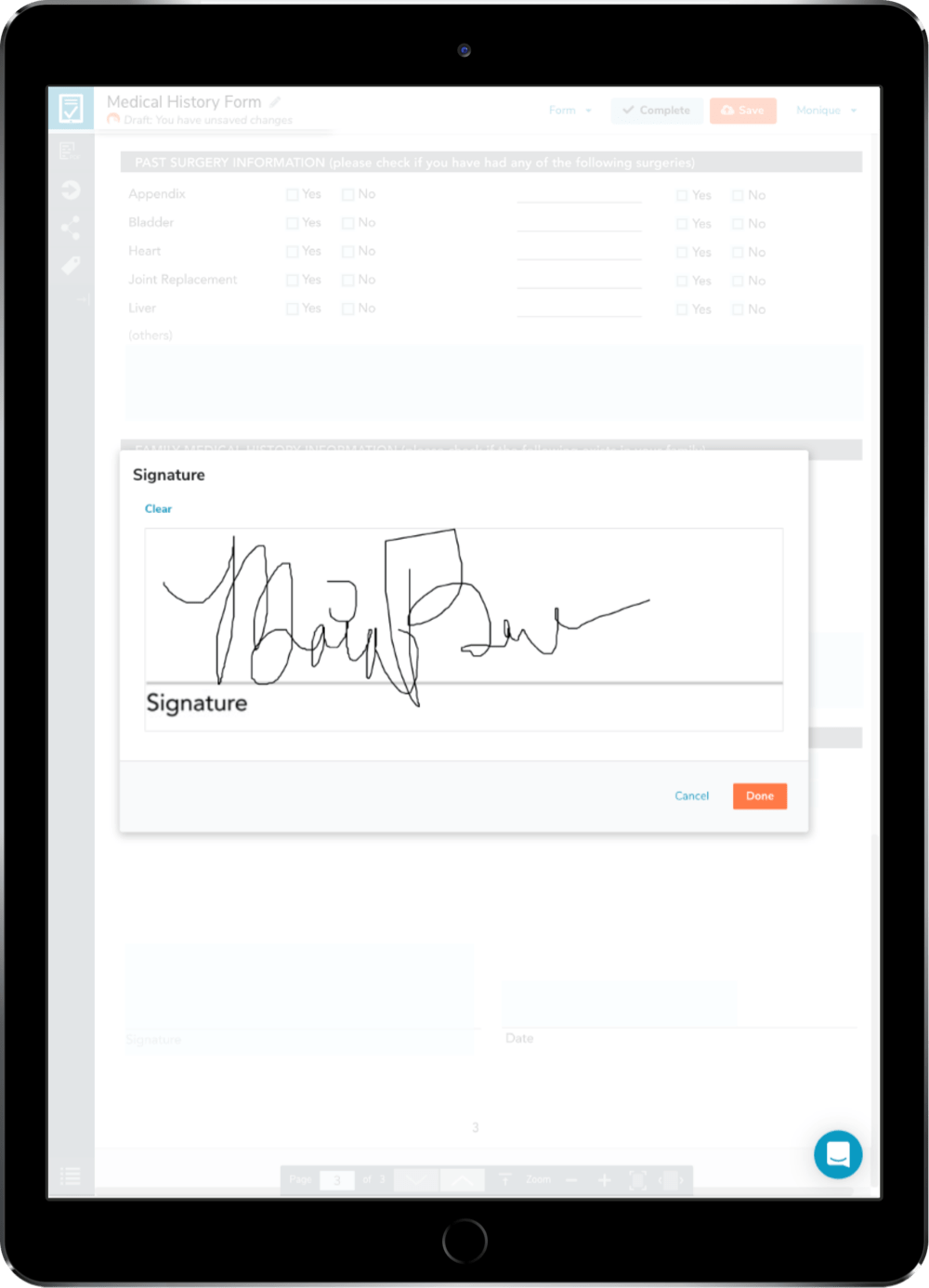 An electronic signature being applied to a digital form on a tablet.