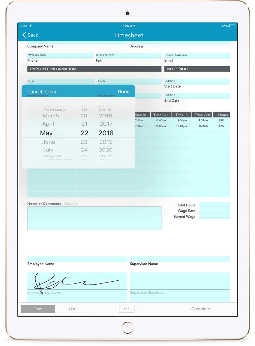 timesheet templates for mobile forms goformz